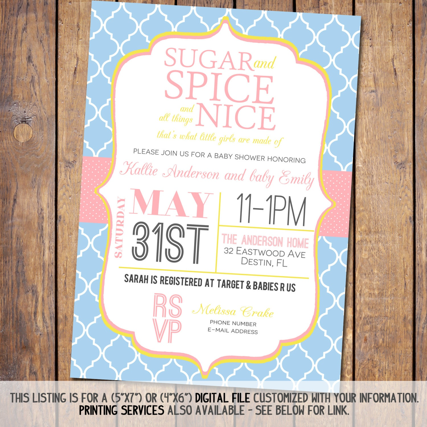 sugar and spice girls baby shower invitations by joypribishdesigns