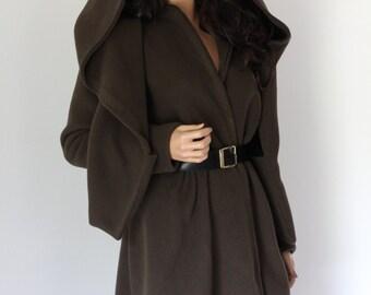 PRE-ORDER Polartec Jacket Wrap Blanket Coat Cape Hood Winter Outdoor - Chrisst