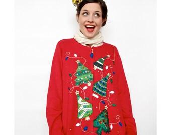 Vintage Christmas Sweater . 1980s Christmas Tree Cardigan with Jewel Appliqué . Ugly Christmas Sweater