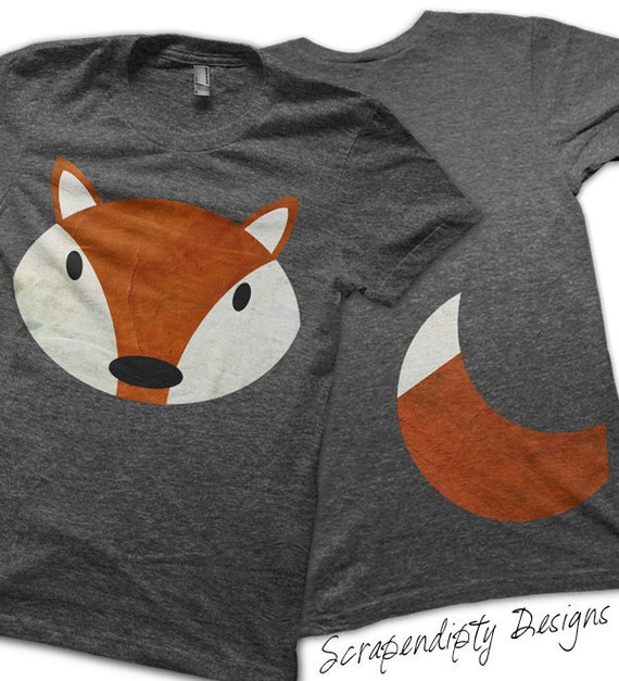 Iron on Fox Shirt PDF - Fox Tail Iron on Transfer / Red Fox Kid Shirt / Fox and Tail Adult Tshirt / Funny Baby Clothes / Halloween Costume