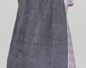One of a Kind Sample Monogrammed Gray Towel Wrap with Pink and White Chevron Trim