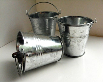 "Miniature Silver Metal Bucket - stainless steel bucket, party favor bucket, 2 1/2"" high wedding favor bucket, 18"" doll accessory"