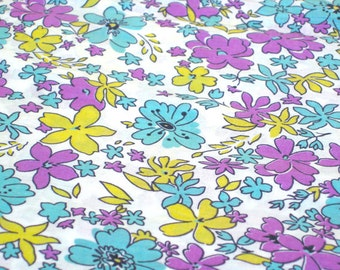 "Vintage Fabric - Flowers - Aqua, Purple & Yellow - By the Yard x 34""W - 1950's - Retro Sewing Material - Yardage - Craft Supply"