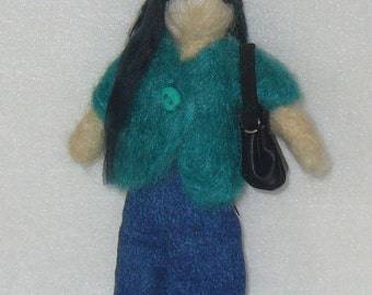 Needle felted Waldorf Style Doll with Long Black Hair and Emergency Chocolate.