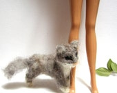 Dollhouse cat, little gray kitty, miniature realistic cat, needle felted, fashion doll animal, tiny kitty, 1:6 scale