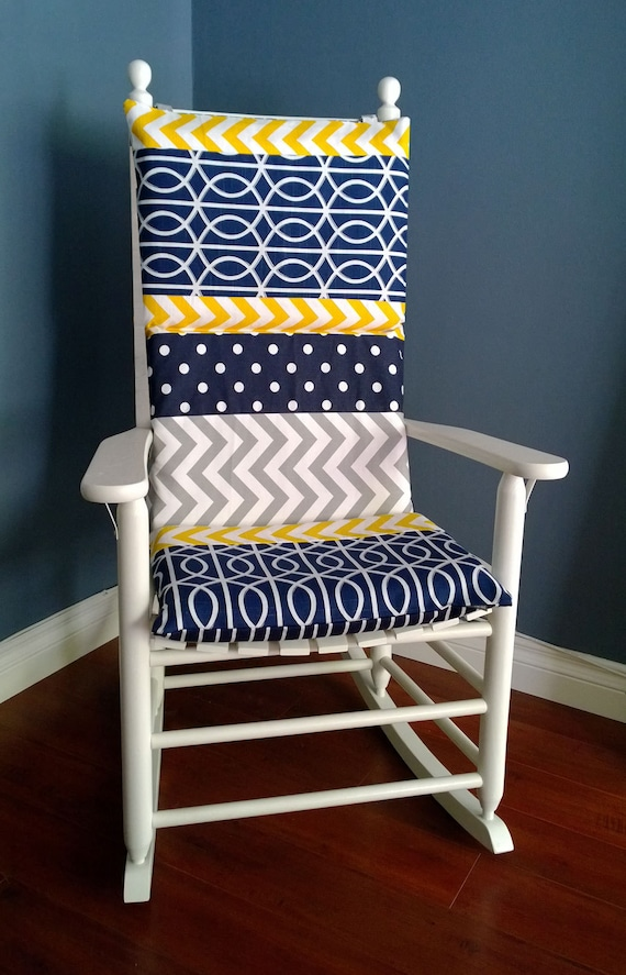 Rocking Chair Cushion Cover Blue Grey Yellow By Rockincushions