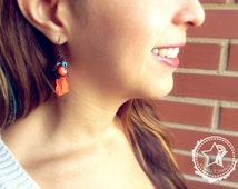 Boho earrings Flowers & India Sari Silk earrings, flowers earrings, neon orange earrings, whimsical earrings nature earrings whimsy earrings