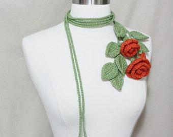 Unique Crochet Rose Bouquet  Lariat/ Necklace