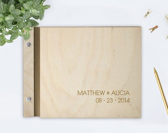 Custom Wedding WOOD Guest Book - Modern Name
