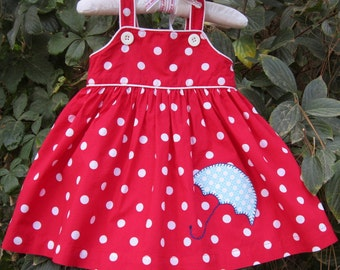 Rainy Day Dress---Red & White Polka Dots---Size 6 month