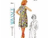 "1960s Advance 3546, Dress Coat Dress, Modified Princess Seam, Back Yoke, Back Pleat, Belt Detail, Notched Collar, Size 14, Bust 36"", Uncut"