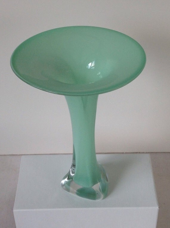 Hand Blown Glass Vase - Mint Green Opaque Fluted Bud Vase by Jonathan Winfisky