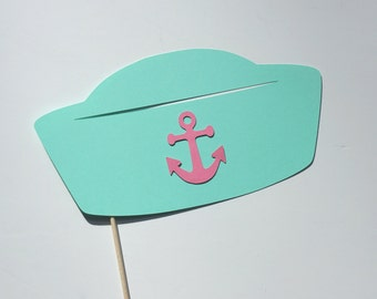 Photo Booth Props - Sailor Hat - Photobooth Prop - Teal with Pink Anchor