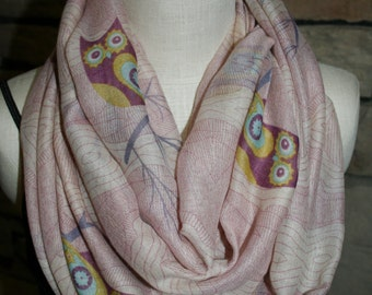Owl Infinity Scarf- Pink Forest Owl Scarf -Chunky Woodland Owl Infinity Scarf Loop Scarf-Owl-Accessories-Summer Scarf