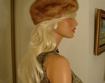 1950s 1960s Mr D' Pastel Mink Fur Dr Zhivago Hat