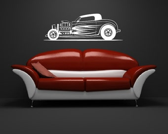 Hot Rod Wall Decal, Retro Car Decor, Classic Car Decal, Vinyl Wall Decal, Car Wall Decor, Car Wall Decal, Boys Room Decor 22372