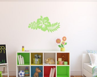 Hibiscus Decal, Flower Wall Decal, Vinyl Wall Decal,  Hawaiian Flower, Beach Decal, Beach Decor, Kids Room, Nursery Decal 22446