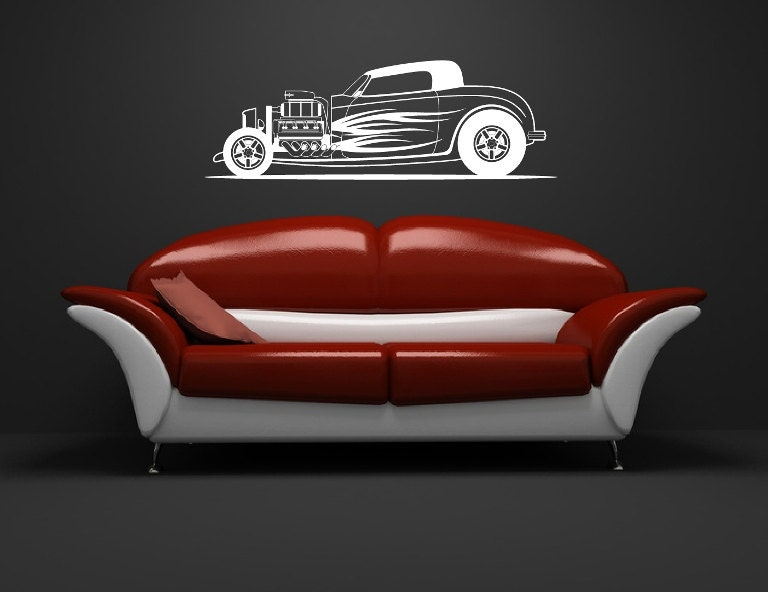 Vintage Auto Wall Decor : Hot rod wall decal retro car decor classic vinyl