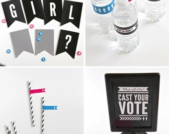 COMBO PACK of Baby Gender Reveal Party Decor - Instant Downloads