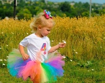 Toddler Tutu: SPRING RAINBOW TUTU (Pink, Orange, Lemon Yellow, Emerald Green, Turquoise, Purple) Birthday Tutu