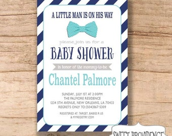 Bow Tie baby shower invitation/ Bow Tie Invitation/ /Navy/Turquoise Bow Tie Invitation