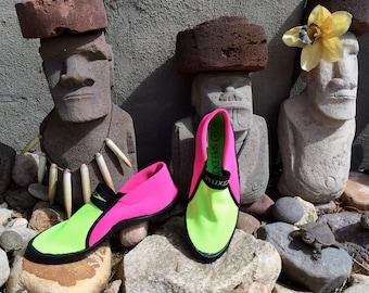 NEON 80s Neoprene Swim Shoes SPEEDO Surf Walker Fluorescent Pink & Green Scuba Snorkeling Surfing Beach Shoes Women's size 6 Hipster Shoes