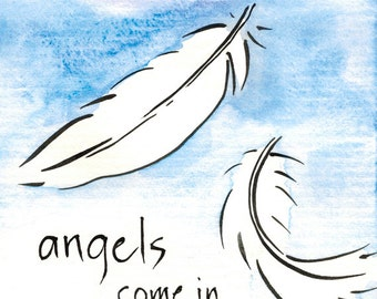 141. angel feathers thank you card - mix and match any 6 designs