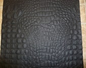"""Leather 8""""x10"""" Matte Flat Black ALLIGATOR / Crocodile Embossed Cowhide Leather Hide 1 sq ft PeggySueAlso"""