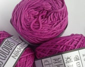 Cotton yarn, hand dyed yarn, red violet, deep pink double knit DK. Pantone Radiant Orchid. *SALE 25% OFF*