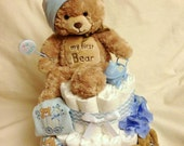 Baby Boy Diaper cake - Two Tier Diaper Cake - made to order