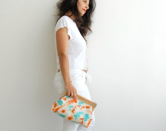 coral & turquoise, vegan clutch, fashion accessories,printed clutch