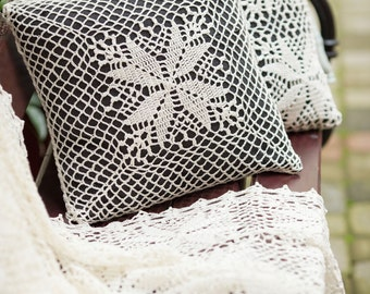 white decorative crochet lace linen pillow EDEN by GLOVA HOME home decor interior textiles cottage chic wedding gift heirloom quality