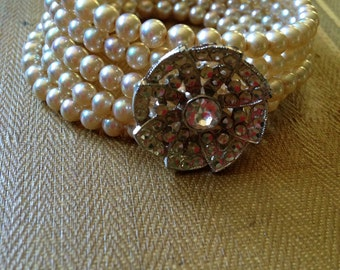 Vintage beads and button memory wire wrap bracelet, recycled repurposed upcycled