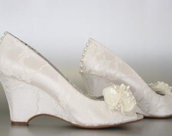 Custom Wedding Shoes -- Light Ivory Peep Toe Wedding Wedges with Lace Overlay, Pearl Buttons on Heel and Light Ivory and Pearl Flowers