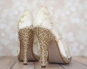 Wedding Shoes -- Ivory Platform Wedding Heels with Ivory and Gold Lace Overlay and Ivory Pearl and Gold Rhinestone Heel and Platform