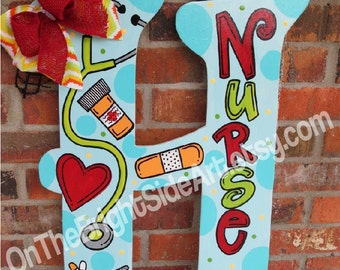 Large Door Hanger Nurse Initial Letters with Bows (or without)