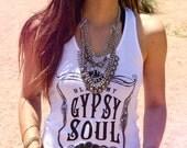 Gypsy Soul Tank, Sz 0-2, Blame My Gypsy Soul, Gypsy Tank, White, Boho Tank Top