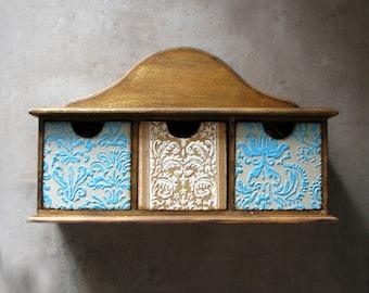 Keepsake drawer jewelry storage, organizer, shelf, mint, beige, natural distressed wood, homewares, rustic home