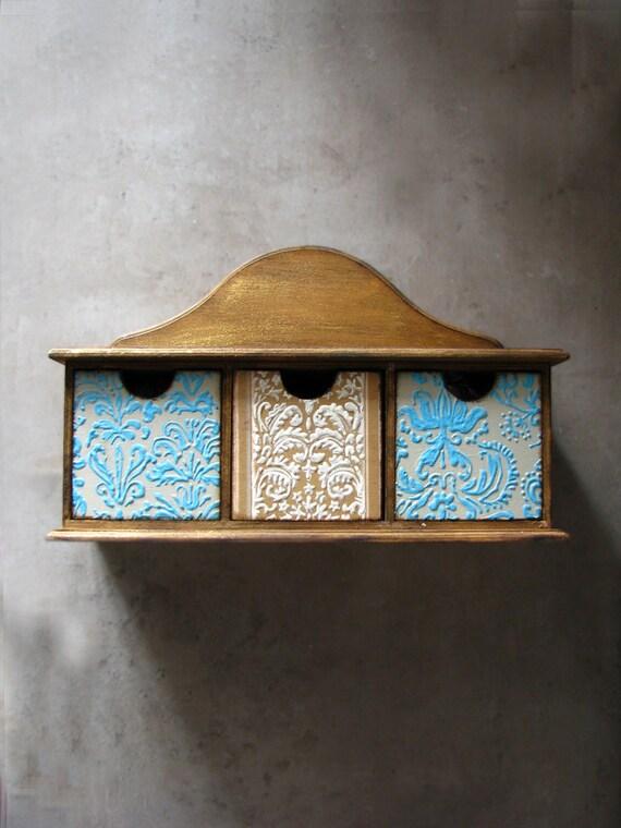 Wooden box, Keepsake drawer jewelry storage, organizer, shelf, mint, beige, natural distressed wood, homewares, rustic home