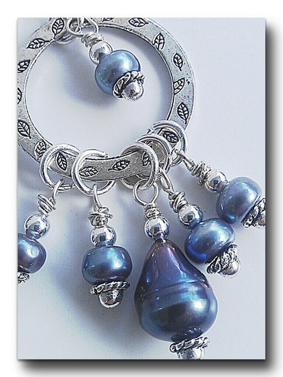 Blue Freshwater Pearls from Etsy