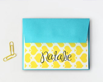 Stationery Custom Stationary Yellow and Teal Turquoise Aqua Blue Personalized Note Cards Colorful Spades Thank You Notes Bright / Set of 10