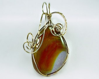 Gold Filled Wire Wrapped Carnelian Agate Pendant, Hand cut stone, Great Gift Idea, Honey gold