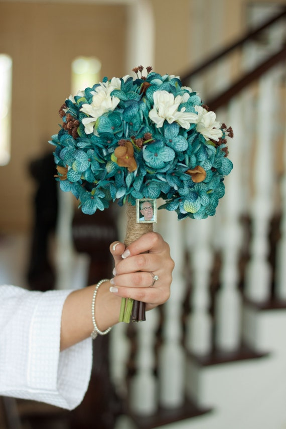 Teal Hydrangea Bouquet Rustic Country Bouquet Cream And Brown