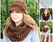 Crochet Pattern, Ribbed Newsboy Hat & Basic Cowl/Infinity Scarf Pattern Set, Pattern 014 and 015