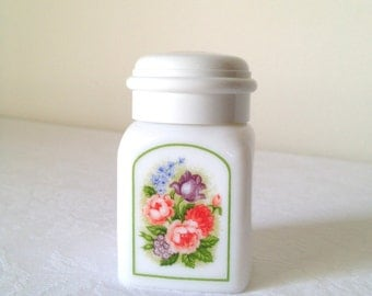 Vintage Avon Country Garden Jar Powder Sachet Milk Glass Jar