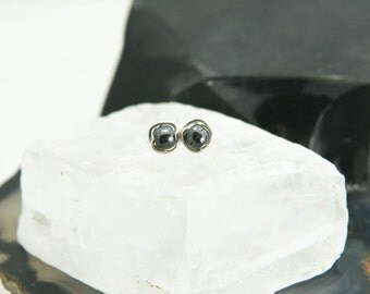 Tiny Hematite Stud Earrings - Sterling Silver Gunmetal Gray Wire Wrapped Gemstone Rounds - Courage, Protection, Healing