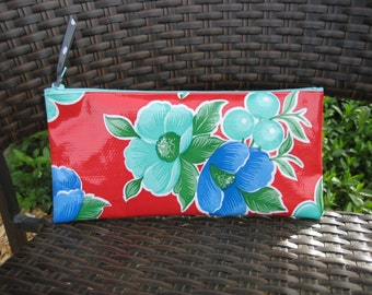 Zippered Oil Cloth Pouch-Red and Blue Floral Cosmetic Bag--Purse Organizer--Pencil pouch