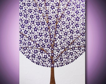 Painting Purple Flower Tree Abstract Acrylic Blossoms Violet Lavender Gold 18x24 High Quality Original Modern Fine Art