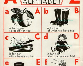 1940s Delightful Nursery ALPHABET Book Plate ABC chart