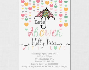 Printable Baby Shower Invitation - Shower With Love - Rain Baby Shower - Hearts Baby Shower - Baby Invitation